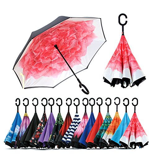 Spar. Saa Double Layer Inverted Umbrella with C-Shaped Handle, Anti-UV Waterproof Windproof Straight Umbrella for Car Rain Outdoor Use (Red Lotus) -