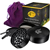 Herb & Weed Grinder with Pollen / Kief Catcher. 4 Piece Heavy Duty Anodized Aluminum. FREE Scraper, Brush, Travel Bag & Gift Box. 2.5 Inches Black. Designed to last!