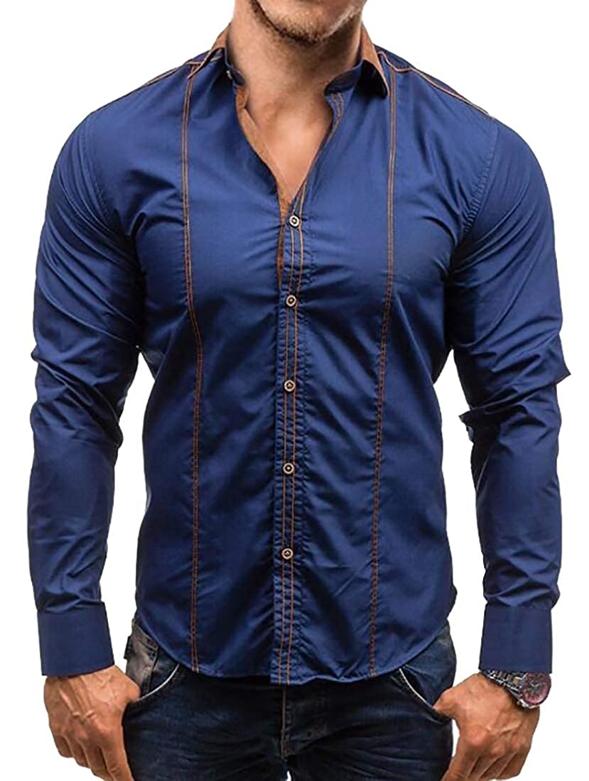 YY-qianqian Mens Fashion Solid Color Business Long Sleeve Slim Fit Button Down Dress Shirts