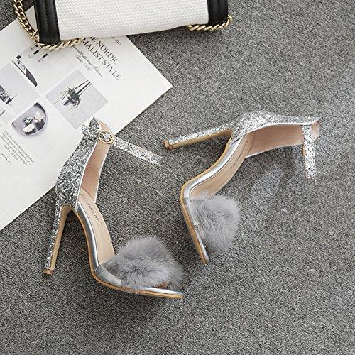 snelli a punte con tacco a scarpe RUGAI silvery UE alto con e scarpe punta Sandali XOOwfE