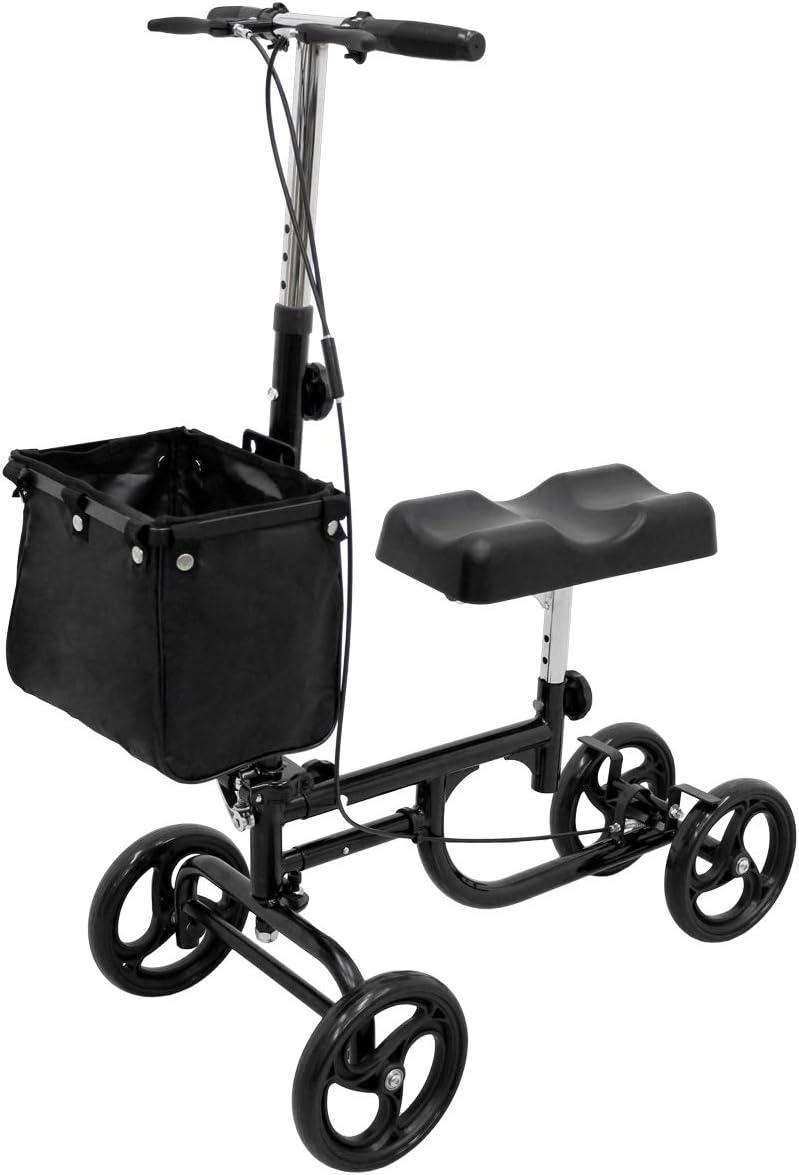 ECD Germany Andadores rodilla scooter para discapacitado muletas alternativa para pierna rota lesiones en el pie cirugía de tobillos entrenamiento para recuperación ajustable con cesta y frenos