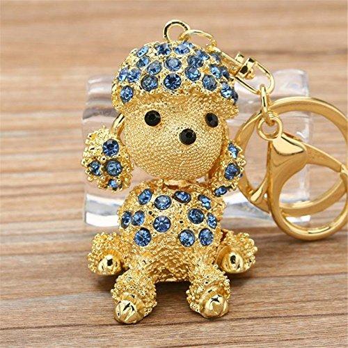 Axmerdal Cute Sitting Poodle Keychain Sparkling Keyring Crystal Rhinestones Dog Purse Car Pendant Handbag Charm (Cute Poodle)