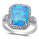 Large Radiant Cut Lab Created Blue Opal & Cubic Zirconia .925 Sterling Silver Ring Sizes 5-12