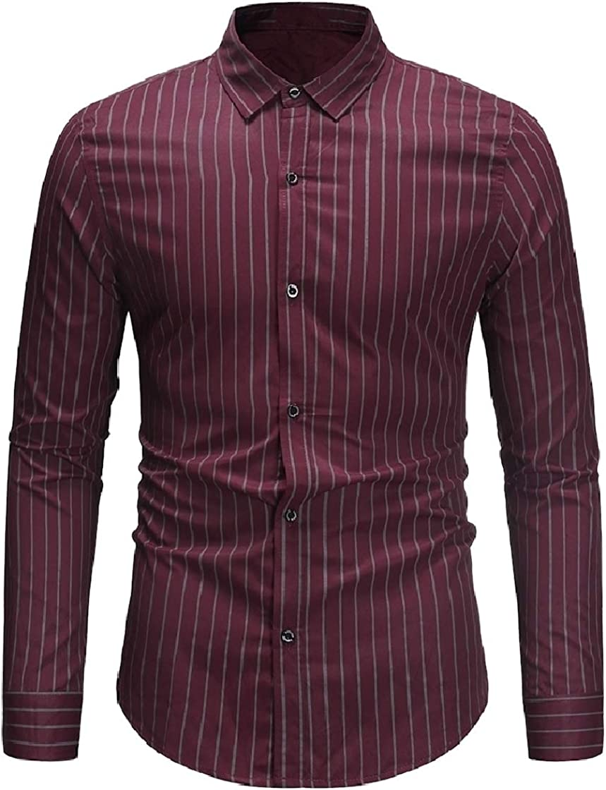 DressU Mens Oversize Britain Mid Long Striped Button Down Shirt