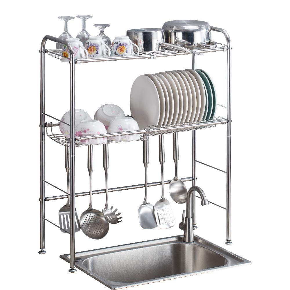 Large Delite Home 2-Tier Stainless Steel Over Sink Dish Drying Rack Counter-top Dish Rack Dish Shelf Dish Collector Silver Single Groove