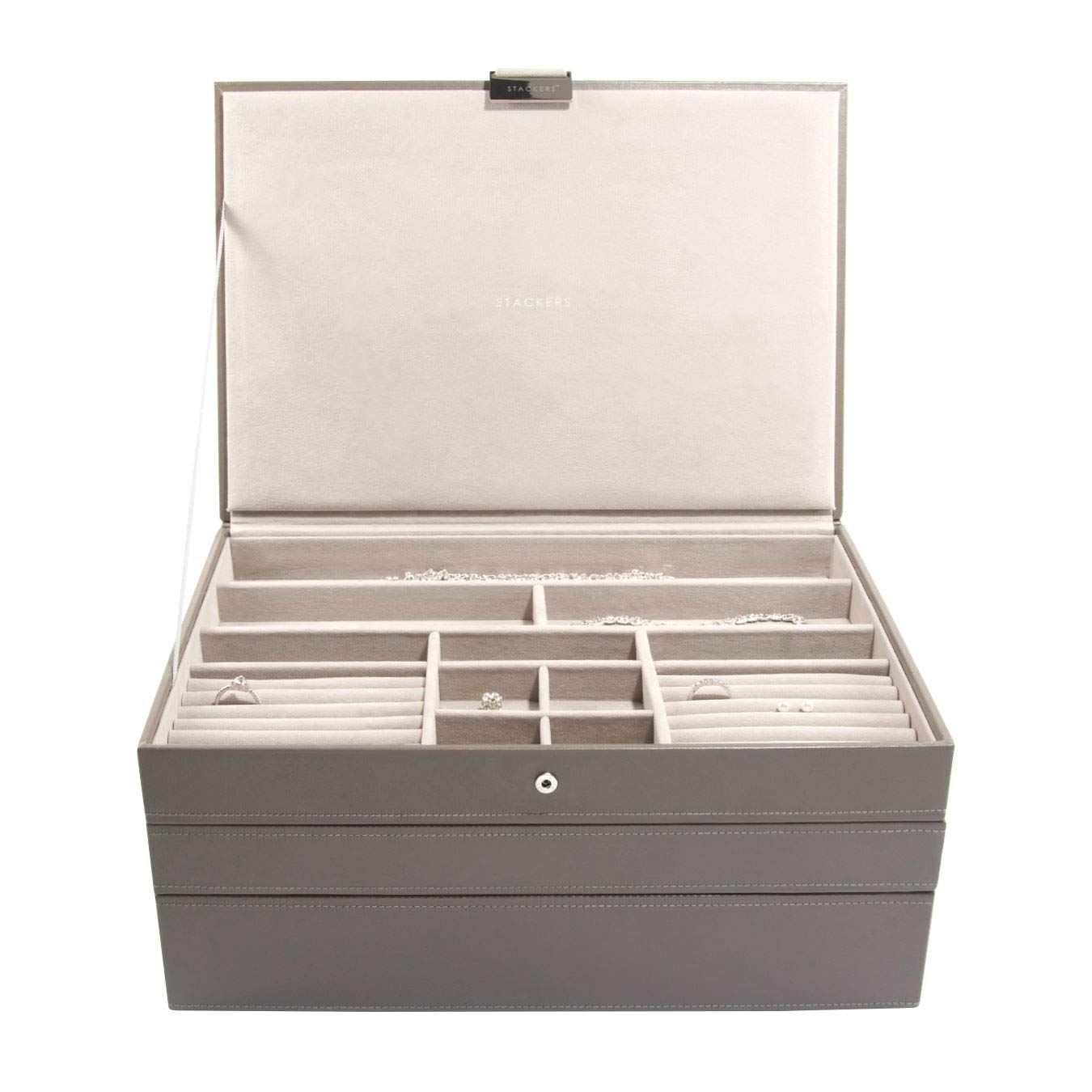 STACKERS /'SUPERSIZE/' Mink Deep Section STACKER Jewellery Box with Grey Velvet Lining.