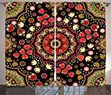 Mandala Decor Curtains by Ambesonne, Indian Spiritual Floral Motif with Middle Eastern Islamic Influences Image, Living Room Bedroom Window Drapes 2 Panel Set, 108W X 90L Inches, Emerald Red