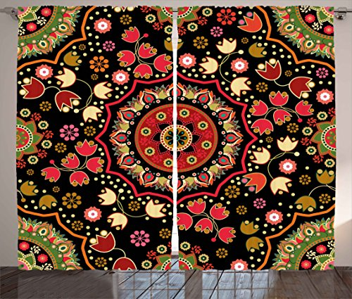 Mandala Decor Curtains by Ambesonne, Indian Spiritual Floral Motif with Middle Eastern Islamic Influences Image, Living Room Bedroom Window Drapes 2 Panel Set, 108W X 90L Inches, Emerald Red by Ambesonne
