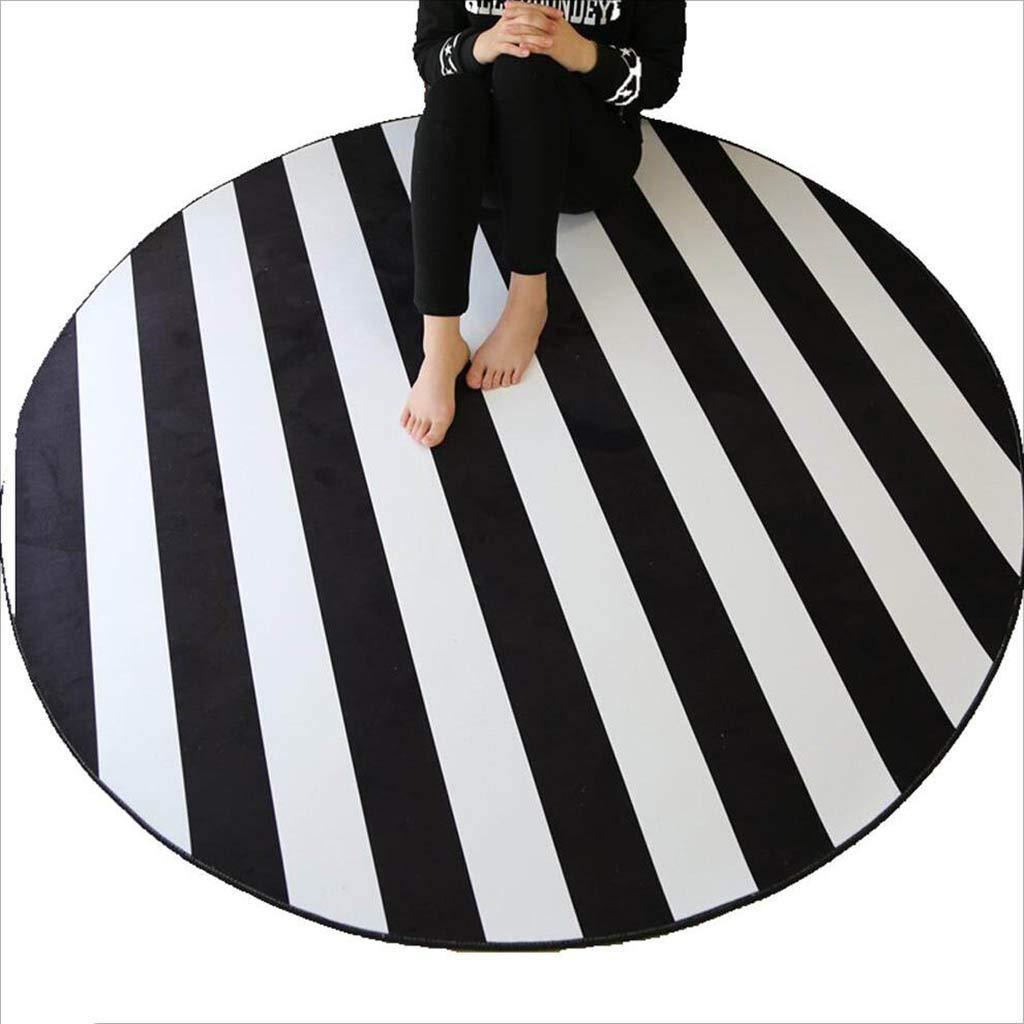 XI HOME Runde Streifen Teppich Home Wohnzimmer Schlafzimmer Couchtisch Computer Stuhl Rutschfeste Bodenmatte (Farbe   schwarz and Weiß Stripes, größe   200cm)