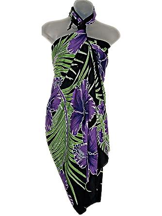 61ba380d31 HAWAIIAN PURPLE FLORAL SARONG PAREO BEACH COVER UP at Amazon Women's  Clothing store: Fashion Swimwear Cover Ups