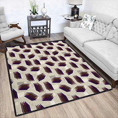 Geometric Polyester Fiber Area Rugs,Repeating Pattern with Overlapping Squares in Retro Colors Abstract Modern Design No Chemical Odor Multicolor 67