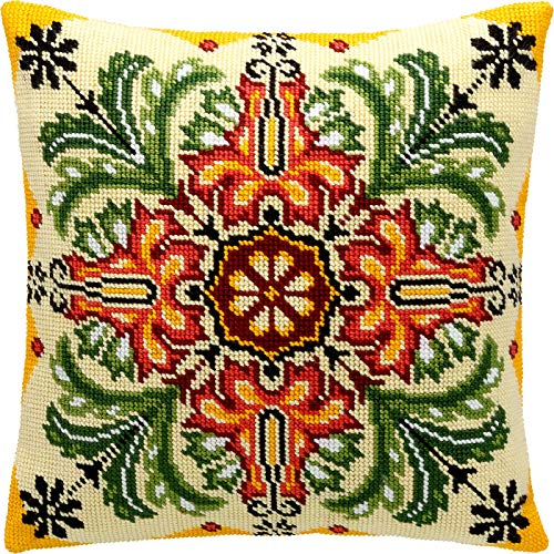 Kaleidoscope of Flowers. Needlepoint Kit. Throw Pillow 16×16 Inches. Printed Tapestry Canvas, European Quality