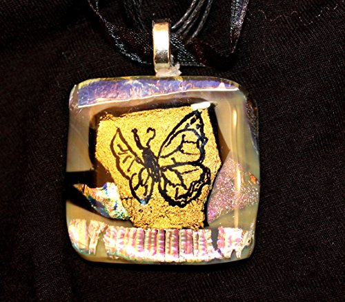 Etched large dichroic glass pendant with gold butterfly Etched Butterfly Pendant