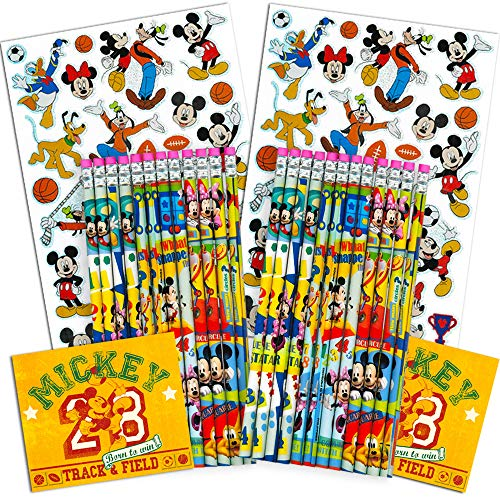 - Disney Mickey Mouse Pencils Set -- Pack of 24 Wood Pencils with Erasers and Stickers (Mickey Mouse School Supplies)