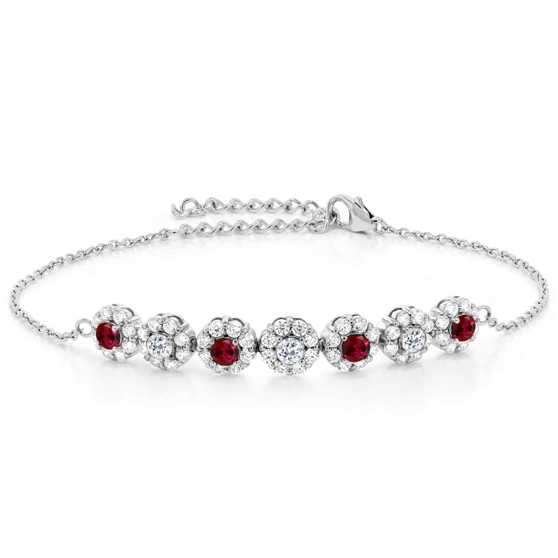 "Womens 925 Sterling Silver Two Tone White Round Topaz 7.5/"" Bracelet"