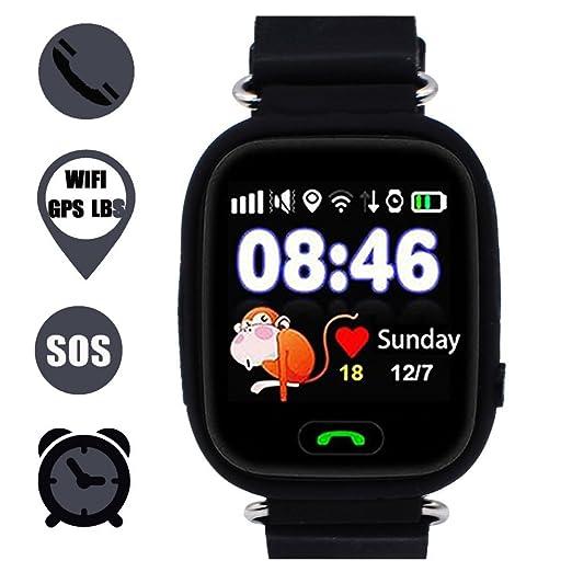 Niños Reloj Inteligente GPS Rastreador Localizador Anti-Lost Seguridad Niños Reloj de Pulsera SOS Llamadas SIM Podómetro Smartwatch Compatible con iPhone y ...