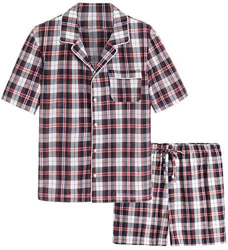 Latuza Men's Cotton Woven Short Sleepwear Pajama Set XXL Navy & Red