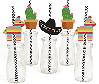 product image for Let's Fiesta - Paper Straw Decor - Mexican Fiesta Party Striped Decorative Straws - Set of 24