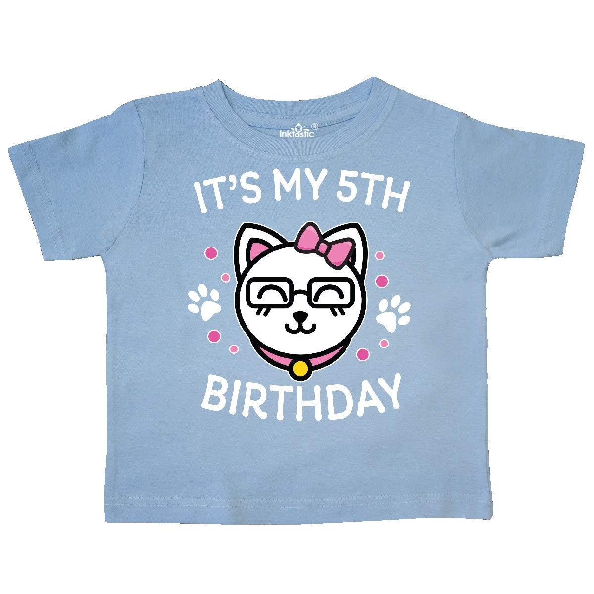 inktastic Its My 5th Birthday with Cat in Glasses Toddler T-Shirt
