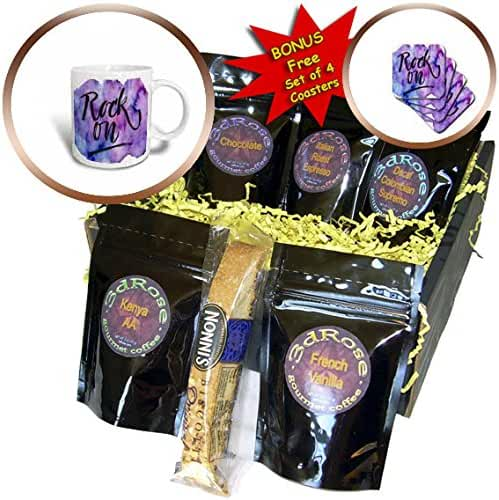 3dRose Anne Marie Baugh - Quotes - Rock On On A Blue and Purple Watercolor Background - Coffee Gift Baskets - Coffee Gift Basket (cgb_255060_1)