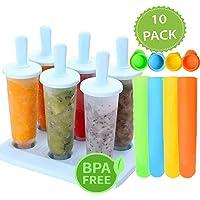 6 pcs moldes Set, shineus redondo reutilizable en forma Ice Cream Pop moldes helados Popsicle