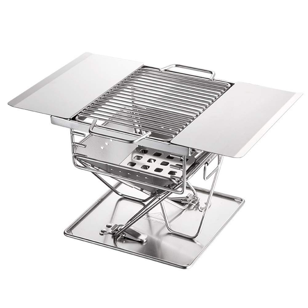 BHH-BBQ Stainless Steel Outdoor Grill Charcoal Portable Folding  Multi-Tools Family Friends Outdoor Camping Picnic Garden Fishing Garden by BHH-BBQ (Image #3)