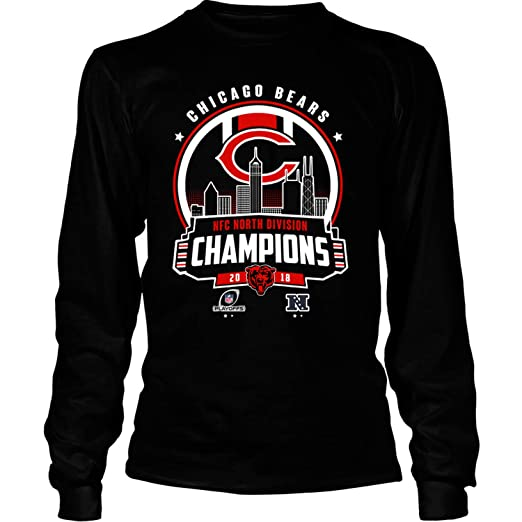 3b5d7fc6bcf Amazon.com: Chicago Bears NFC North Champions 2018 T Shirt - Long Sleeve  Tees: Clothing