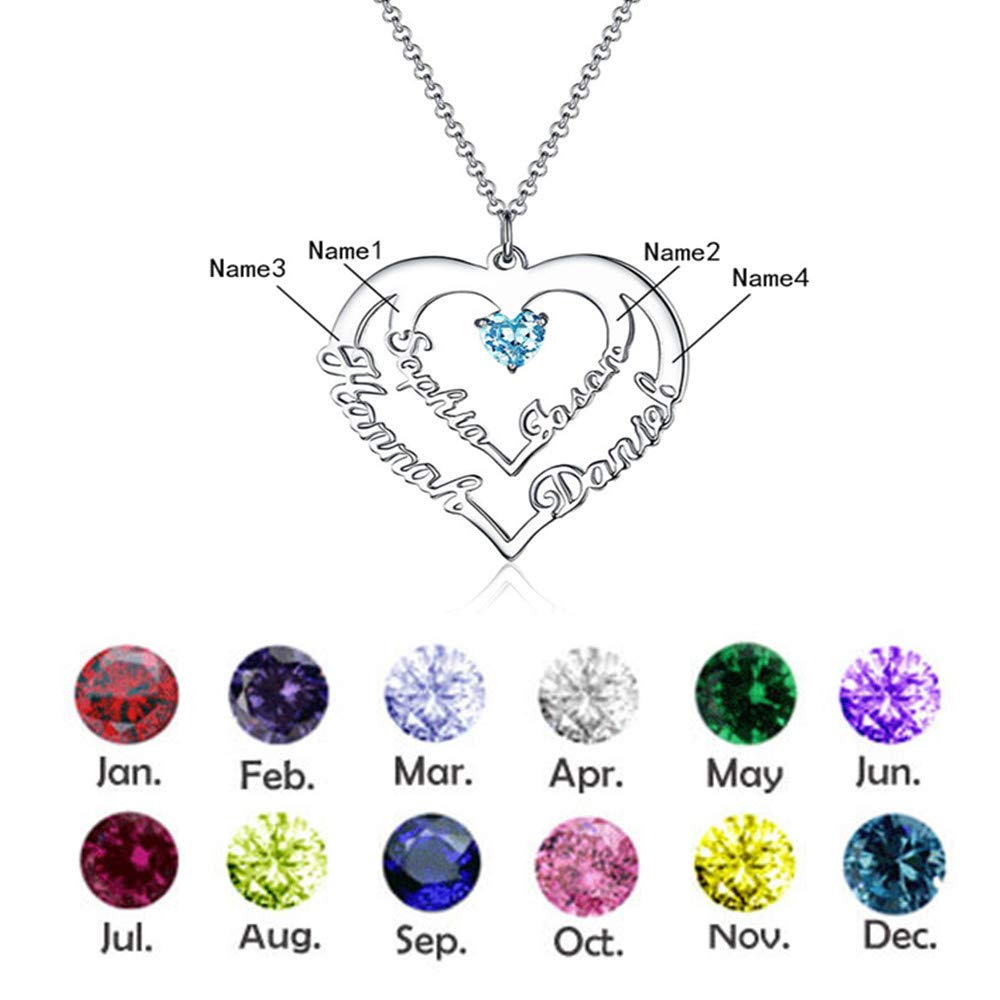 KIKISHOPQ Heart-Shaped Custom 4 Names and Mother Birth Stone Necklace for Mothers Day 0 0