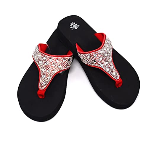 2964e459ffae Isabella Western Rhinestone Studded Platform Flip Flops for Women in Bling  Bling Style for Summer with