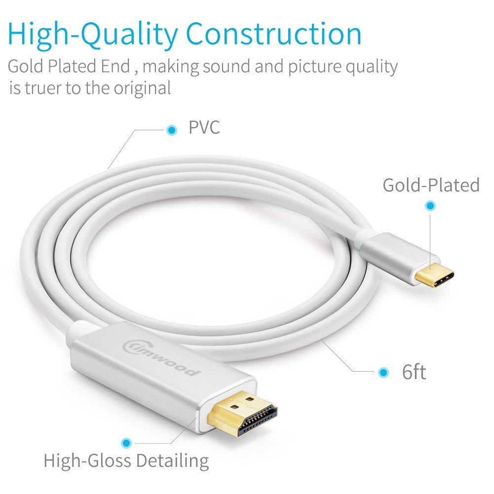 Kimwood USB C to HDMI, 4K@60HZ USB-C to HDMI Cable (Thunderbolt 3 Compatible) for Galaxy S8/S8+/Note 8, MacBook pro 2016/2017, iMac 2017, Chromebook Pixel and More (USB c to hdmi (White)) by Kimwood (Image #1)