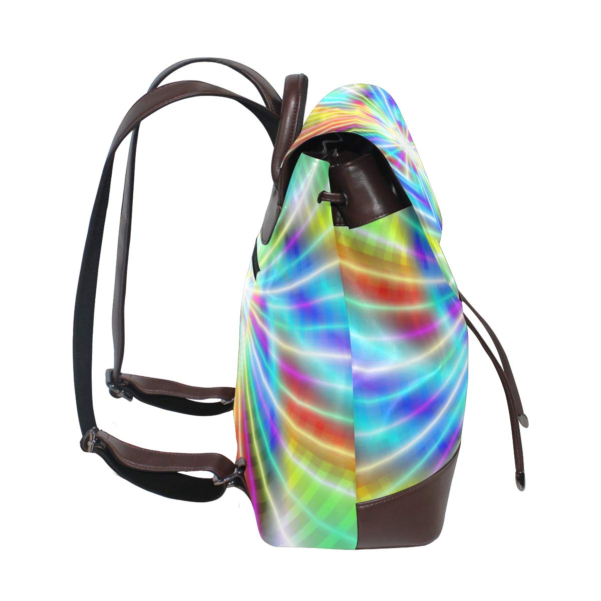 Unisex PU Leather Backpack Colorful Laser Rays Print Womens Casual Daypack Mens Travel Sports Bag Boys College Bookbag