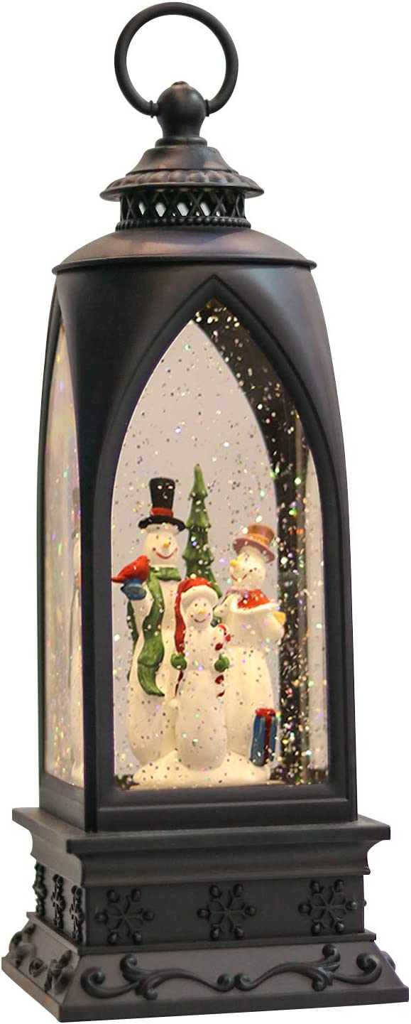 Eldnacele 12 Christmas Snow Globe Lantern Snowman With Music Timer Usb Lined Battery Operated Lighted Water Glittering Lantern For Christmas Festival Decoration Gifts Snowman Home Kitchen