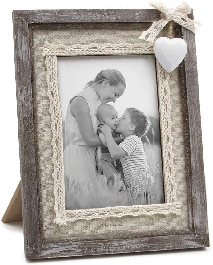 Afuly Rustic Love Picture Frame 4x6 White Heart Cute Burlap Distressed Wood Photo Frames Wedding Unique Gifts