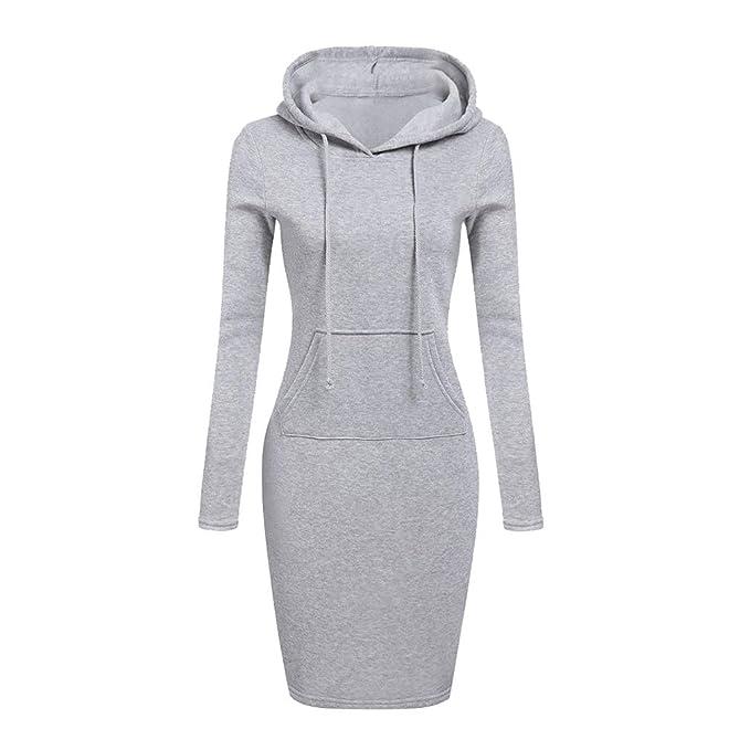 Damen Sweatshirt Kleid Lange Ärmel Sportlich Pullover Kleid