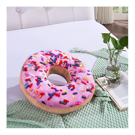 Pink Donut Throw Pillow Plush 3