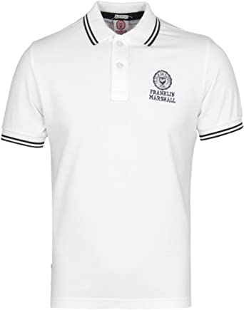 Franklin & Marshall Classic White Short Sleeved Pique Polo Shirt ...