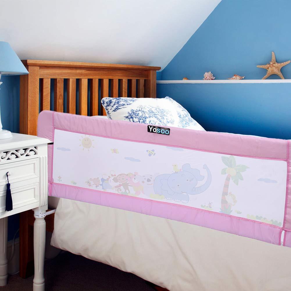 barrera para cuna Barrera de cama plegable barrera de protecci/ón contra ca/ídas rosa Rosa Talla:150 x 65 cm