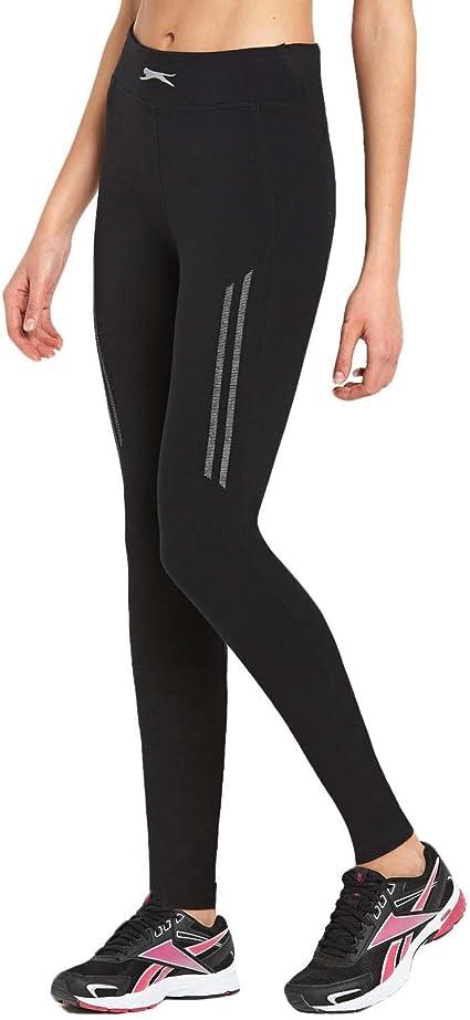 Slazenger Womens High Waist Full Length Long Running Gym Tight Leggings Black
