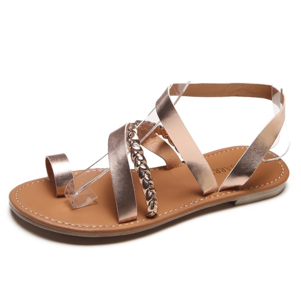 CLEARANCE SALE! MEIbax frauen im sommer strappy gladiator flat - flip - flops beach sandals schuhe (40, Rosa)40|Rosa