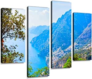 Nature at Path of Gods on tyrrhenian sea and Positano amalfis and Canvas Wall Art Hanging Paintings Modern Artwork Abstract Picture Prints Home Decoration Gift Unique Designed Framed 4 Panel