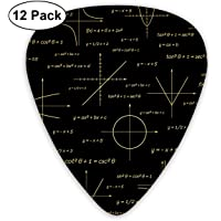 Abstract Math Guitar Picks, 12 Pack Unique Designs Stylish Colorful Guitar Picks for Bass, Electric and Acoustic Guitars