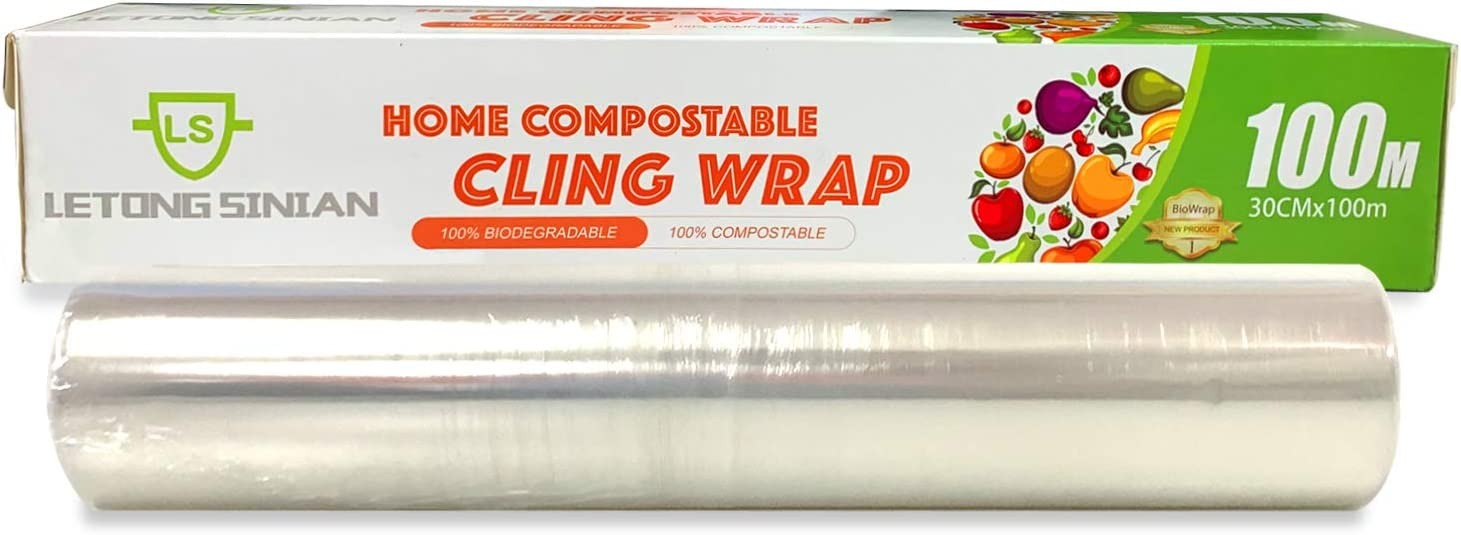 Compostable Cling Wrap with Slide Cutter, Certified Biodegradable Cling Wrap for Food, Biodegradable Corn PLA Cling Film, 12 inch x 328 feet