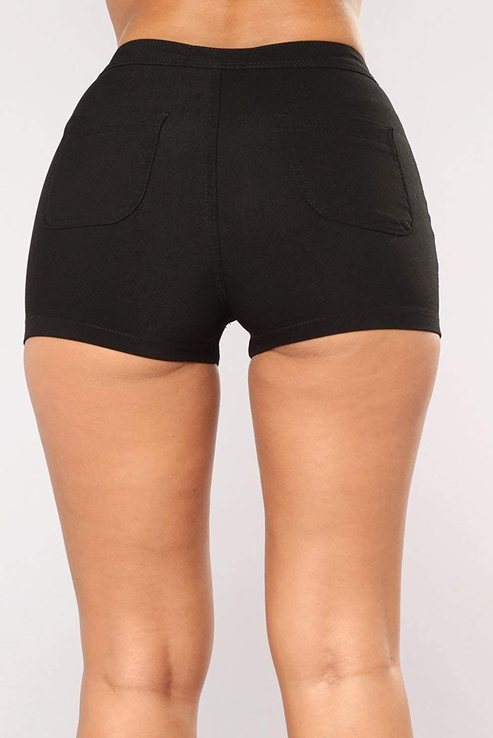 Zimaes-Women Washed Bodysuit Casual High Waist Mini Jean Denim Shorts
