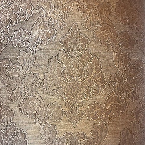 76 sq.ft Rolls Italian Portofino wallcovering Modern Unique Embossed Vinyl Wallpaper Rusted Bronze Copper Metallic Vintage Retro Victorian Large Damask Pattern Faux Metal Textured Wall coverings 3D ()
