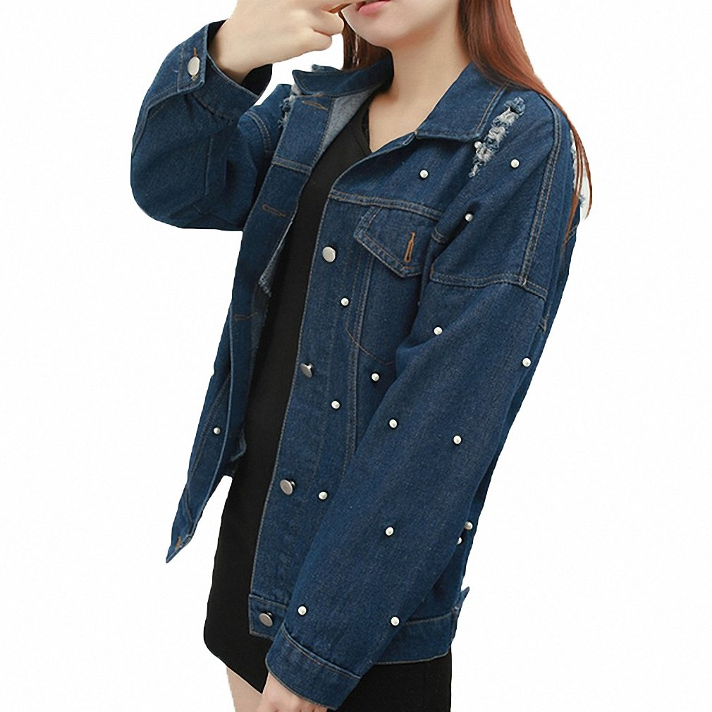 Womens Denim Jacket Frayed Loose Jeans Coat Ripped Solid ...
