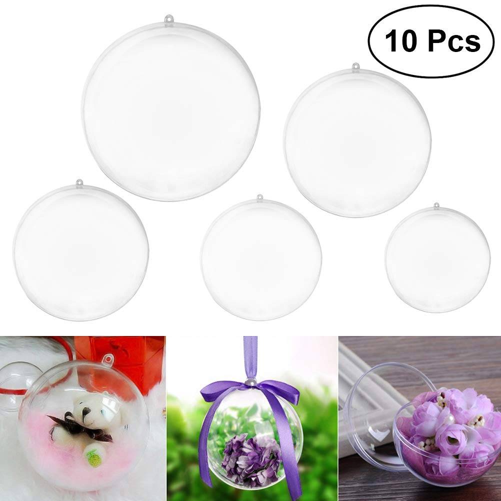 VORCOOL 10pcs/Pack Assorted Size Transparent Ball Christmas Tree Pendant Ornaments Xmas Hanging Decoration Bauble Candy Confetti Gift Box Holder Party Wedding Decor