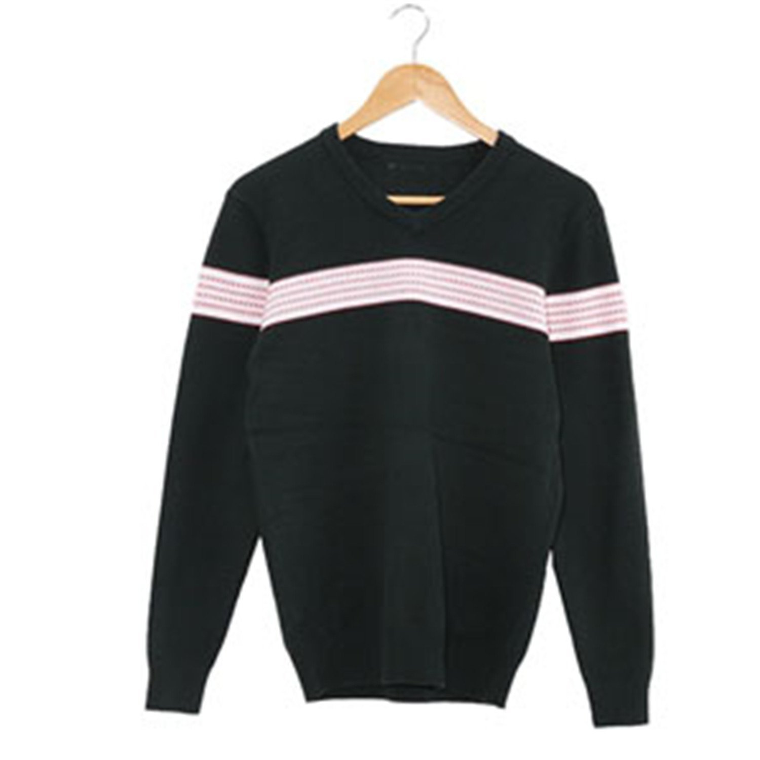 Toping Fine Mens Sweaters Pullovers Striped Soilders Link Preppy Style Fashion Men V-Neck Sweaterhirts Green10Large
