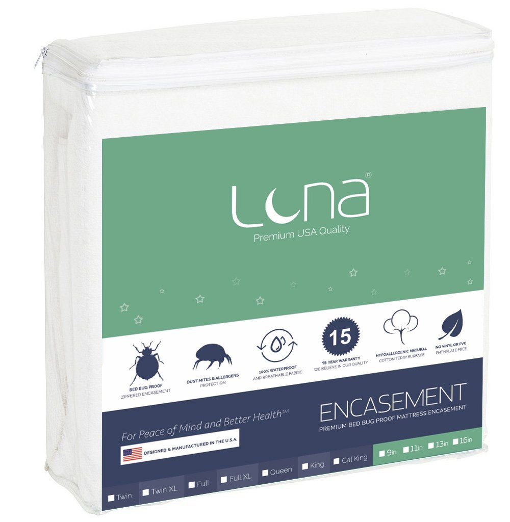 Luna Premium Hypoallergenic Zippered Bed Bug Proof Mattress Encasement 13'' Height - Full Size - Made In The USA