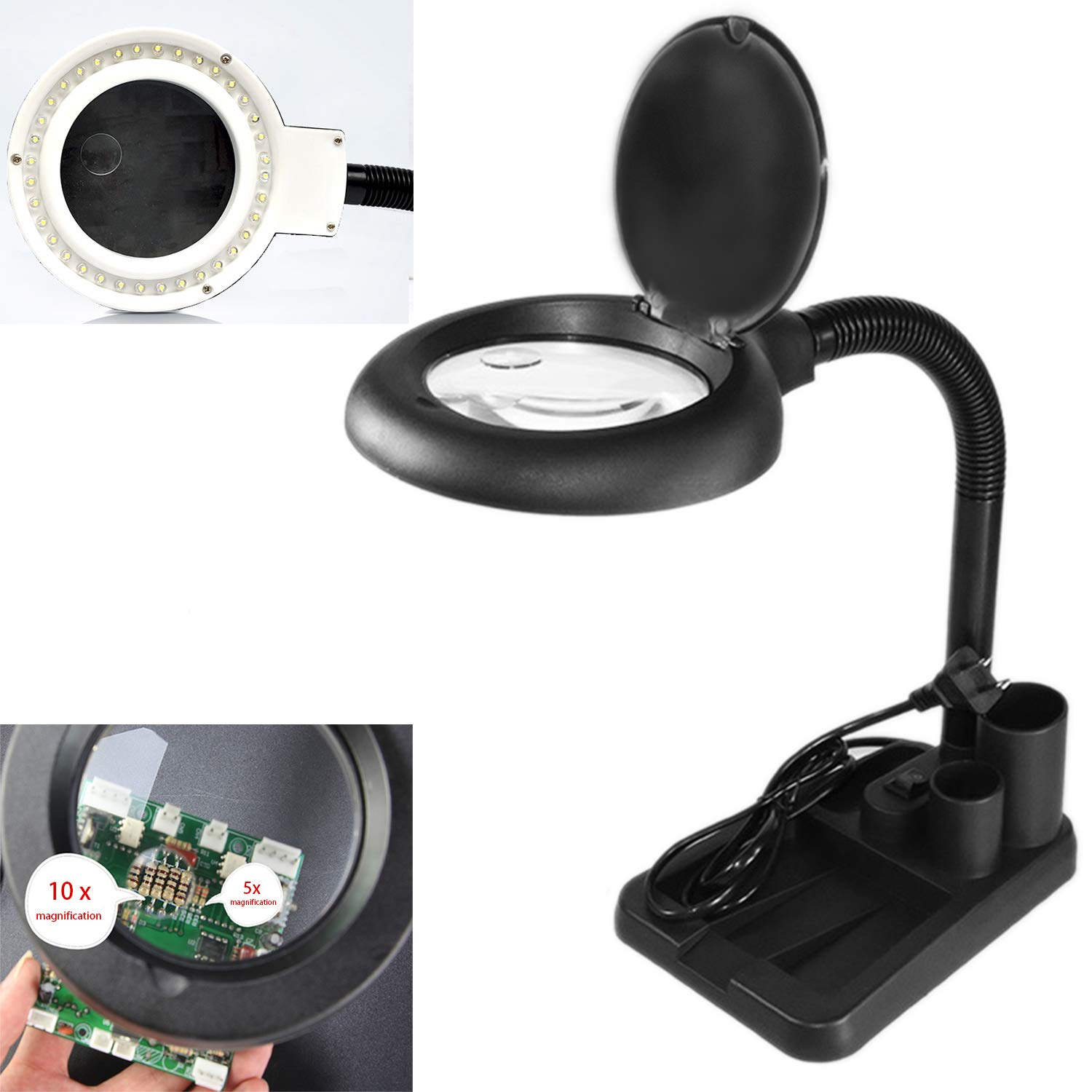 LED Magnifying Glass with Light, 5 X 10X Magnifier and Table & Desk Lamp for Close Work by Fullsexy