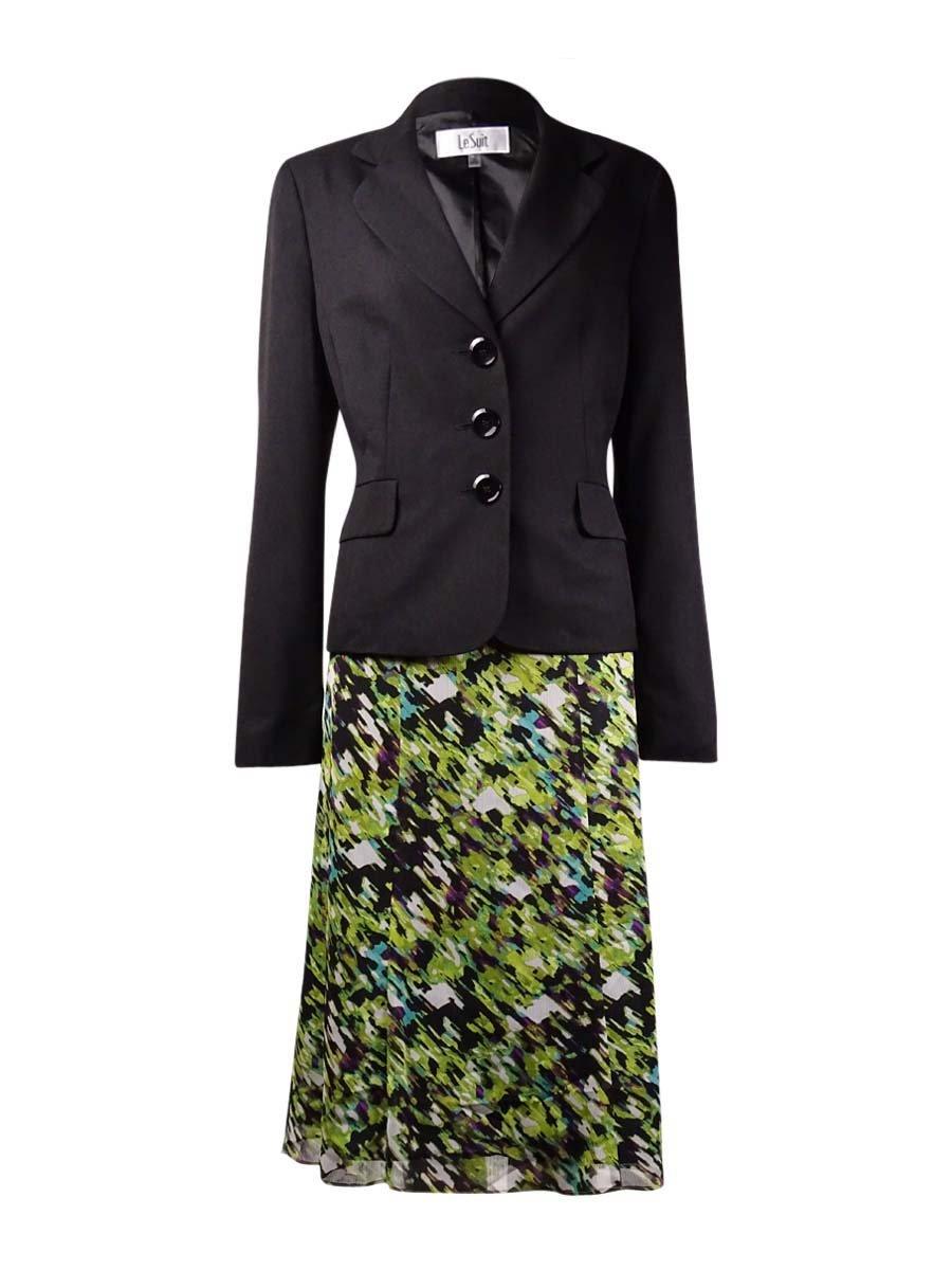 Le Suit Women's 3 Button Jacket and Printed Skirt Suit Set, Black/Palm/Multi, 14